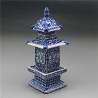 Old Collecting Antique Chinese blue and white porcelain layered tower Vases