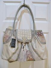 ORIGINAL BY SHARIF BEIGE LEATHER AND TAPESTRY SATCHEL HANDBAG PURSE