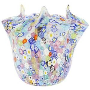 GlassOfVenice Murano Glass Millefiori Fazzoletto Bowl - Transparent Multicolor