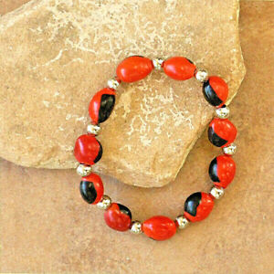 Hand-Made Peruvian Huayruro Seed Bracelet-Artisan Made Fair Trade- Red & Black