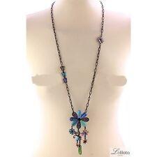COLLIER sautoir fleur/papillon bleu émaillé  LOL bijou  fantaisie