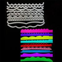9pcs/set Sea Wave Lace Metal Cutting Dies for DIY Scrapbook Album Cards Decor AB