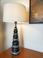 Vtg Mid Century Modern Black Ceramic Table Lamp * 30""