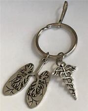 Silver Lungs Caduceus Keychain Purse Charm Medical Nursing Gift MD RN DO ARNP