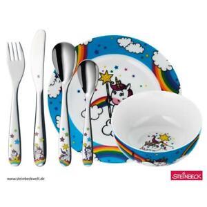 WMF Kinder-Set Unicorn 6-teilig Einhorn Edelstahl Besteck Geschirr Porzellan