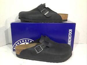 Birkenstock Womens Size 7 EU 38 Boston Black Leather Casual Clogs ZB6-1152