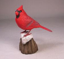 "Mini 5"" Male Cardinal on snow Bird Carving/Birdhug"