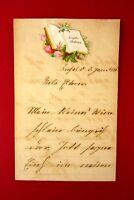 wunderschöner alter Glückwunsch Brief an die Eltern von 1884 Sammlerstück