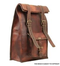 Leather Roll Satchel Backpack Genuine Travel Top Rucksack New Brown women Bag