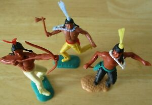 Timpo Vintage  Indians  x 3, please see photo to see what items held in hand