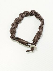 Artisan Brown Leather Braided Bracelet 8.5 Inches Silver Tone Toggle
