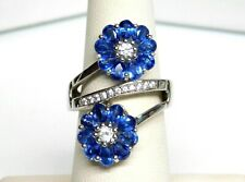 SAM Sterling Silver Natural Cobalt Blue White Spinel Flower Bypass Ring Sz 7