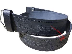 Scottish Highlander Black Leather Embossed Masonic Kilt Belt