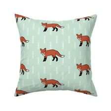 Green Fox Woodland Chevron Mint Throw Pillow Cover w Optional Insert by Roostery