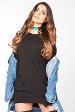 New Womens Ladies Distressed Baggy Ripped Holes Long Sleeve Sweatshirt Jumper