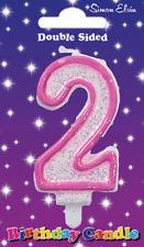 Età 2 Ragazze Compleanno Candela Torta Rosa numero 2 Decorazione Torta (se)