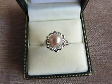 9Carat White Gold Diamond Accent and Cultured Pearl Ring Size K