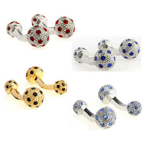 Exquisite Red/Blue/Gold Crystal Ball Men's  Wedding Groom Cufflinks