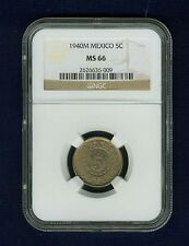 MEXICO ESTADOS UNIDOS 1940  5 CENTAVOS COIN CERTIFIED GEM UNCIRCULATED NGC MS-66
