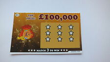4 x JOKE FAKE PRANK TRICK win up to £100,000 Winning Scratchcards Scratch Cards