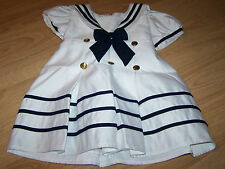 Toddler Size 24 Months Fouger USA Navy White Sailor Dress Anchor Buttons EUC