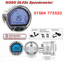 KOSO DL02s Digital Motorcycle Speedometer Speedo Fuel Gauge w/ Speed sensor Chm