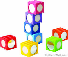 *NEW Eco Friendly Wooden Toy RAINBOW BLOCKS stacking building shapes colours