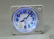 original[Seiko]Bedside beep alarm clock Snooze Sweep LED+Free Shp~QHE100S,silver