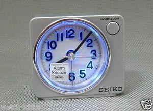 original[Seiko]Bedside beep alarm clock Snooze Sweep LED+Free Shp~QHE100S,silver