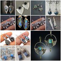 Vintage 925 Silver Moonstone Turquoise Ear Hook Stud Dangle Drop Women Earrings