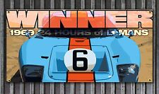 Le Mans Winner Gulf GT 40 Vinyl banner Garage sign Man Cave print