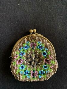 ART DECO VICTORIAN BEADED SMALL CHATELAINE PURSE