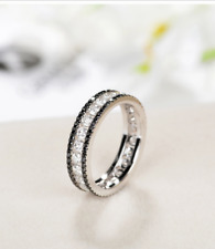 1.80Ct Round Cut Black Diamond Full Eternity Band Ring 14K White Gold Finish