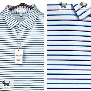 PETER MILLAR Crown Summer Comfort Golf Polo Shirt ⛳️ MEDIUM M ⛳️ Blue Striped