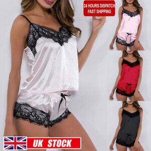 Womens Sexy Lace Cami Shorts Pyjamas Set Ladies Sleepwear Nightwear Bodysuit Pjs