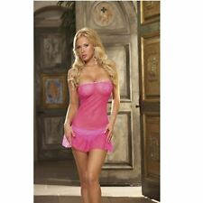 NEW DREAMGIRL LINGERIE MESH PINK STRAPLESS DRESS THONG