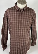 Hackett London Slim Fit Mens XL  Brown Long Sleeve Plaid dress shirt