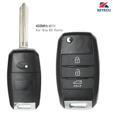 Replacement Flip Remote Key Fob 3 Button 433MHz 4D70 for Kia K3 Forte 2013-2015