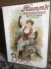 Rare Vintage Hamm'S Preferred Stock Bottled Beer Bock Poster Sign 27X20-Framed