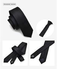 Men's Necktie Neck Tie Casual Black Solid Wedding Plain Narrow Slim Skinny SK608