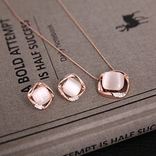 Charming Pink Opal Pendant Women Rose Gold Necklace Earring Wedding Jewelry Sets