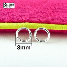 8mm Small Solid 925 Sterling Silver Hoop Sleeper Earrings Nose Ring On Stud Clip