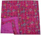 New Throw Kantha Pink Queen Quilt Blanket Bedspread Bedding Quilt Coverlet Ralli