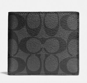 COACH DOUBLE BILLFOLD WALLET in SIGNATURE CANVAS * Charcoal/Black * MSRP $150
