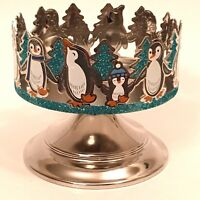 BATH & BODY WORKS GLITTERY PENGUINS PEDESTAL LARGE 3-WICK 14.5 OZ CANDLE HOLDER