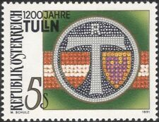 Austria 1991 Tulln/Town Arms/Plants/Heritage/Coat-of-Arms/History 1v (at1133a)