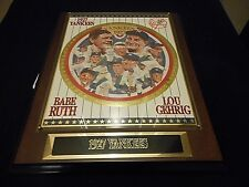 RARE NEW Vintage 1990's 1927 Yankees Babe Ruth Lou Gehrig Team Plaque COA - X23