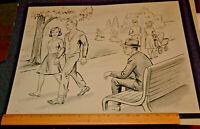 LARGE Vintage Americana Original Ink Wash Art Circa 1950's Lot #3 Man on Bench !
