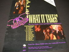 AEROSMITH What It Takes with Feb 24 - March 31, 1990 TOUR DATES Promo Poster Ad