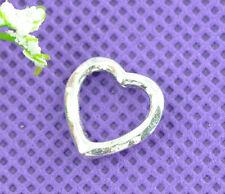 50 Silver Tone HOTSELL Love Heart Bead Frames 14x14mm Findings